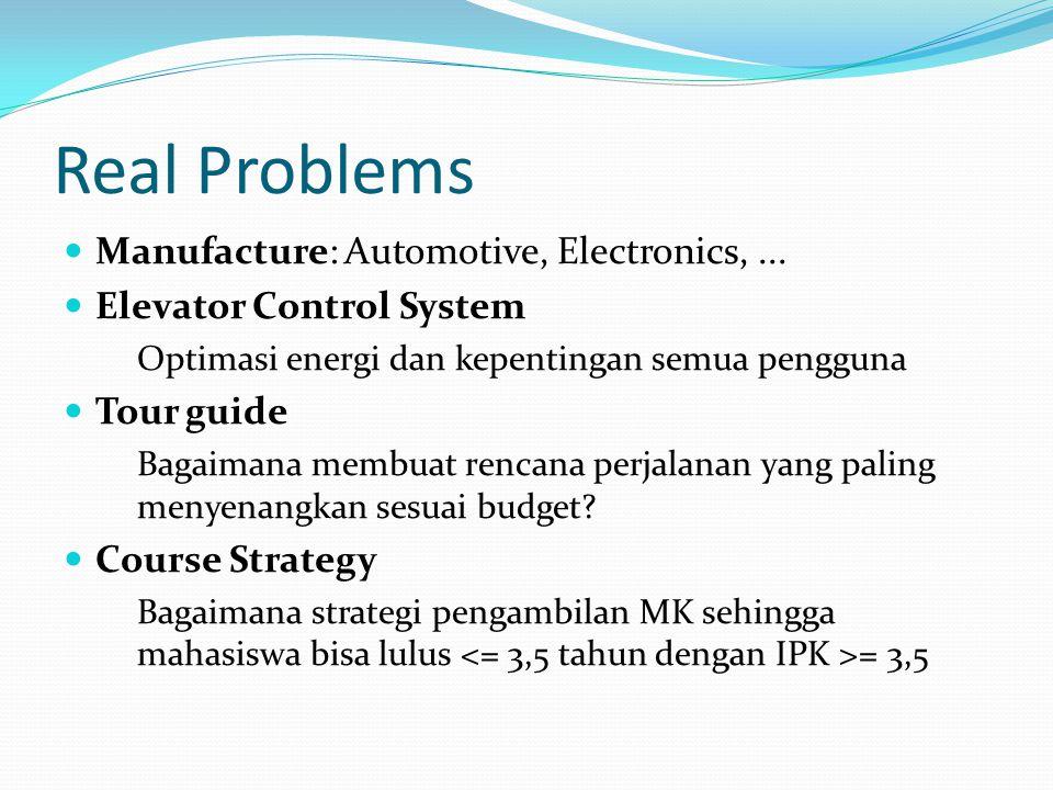 Real Problems Manufacture: Automotive, Electronics,... Elevator Control System Optimasi energi dan kepentingan semua pengguna Tour guide Bagaimana mem