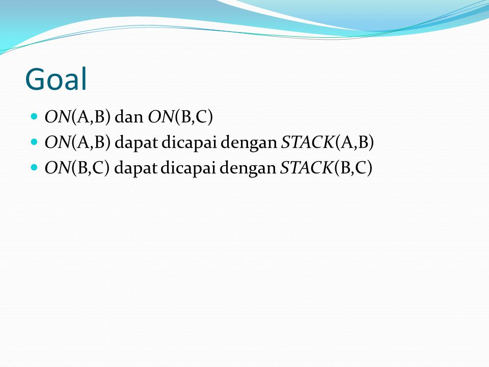 Goal ON(A,B) dan ON(B,C) ON(A,B) dapat dicapai dengan STACK(A,B) ON(B,C) dapat dicapai dengan STACK(B,C)