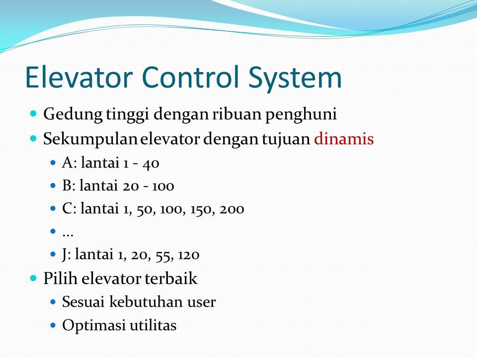 Elevator Control System Gedung tinggi dengan ribuan penghuni Sekumpulan elevator dengan tujuan dinamis A: lantai 1 - 40 B: lantai 20 - 100 C: lantai 1, 50, 100, 150, 200...