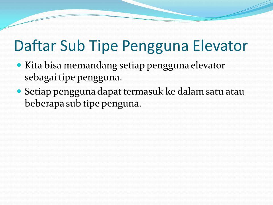 Daftar Sub Tipe Pengguna Elevator Kita bisa memandang setiap pengguna elevator sebagai tipe pengguna. Setiap pengguna dapat termasuk ke dalam satu ata