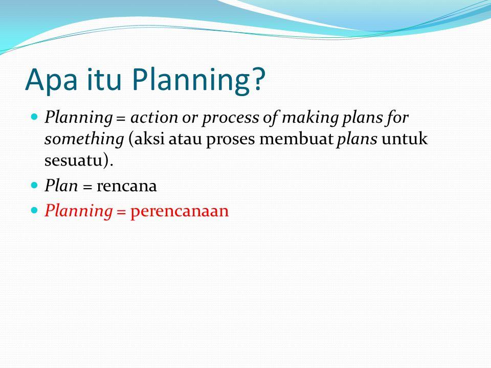 Apa itu Planning? Planning = action or process of making plans for something (aksi atau proses membuat plans untuk sesuatu). Plan = rencana Planning =