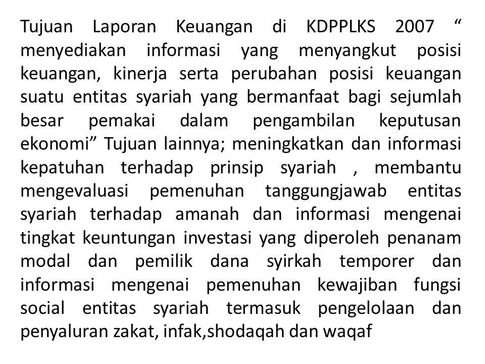"""Tujuan Laporan Keuangan di KDPPLKS 2007 """" menyediakan informasi yang menyangkut posisi keuangan, kinerja serta perubahan posisi keuangan suatu entitas"""