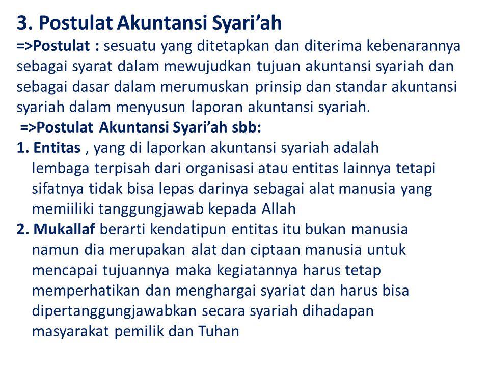 3. Postulat Akuntansi Syari'ah =>Postulat : sesuatu yang ditetapkan dan diterima kebenarannya sebagai syarat dalam mewujudkan tujuan akuntansi syariah