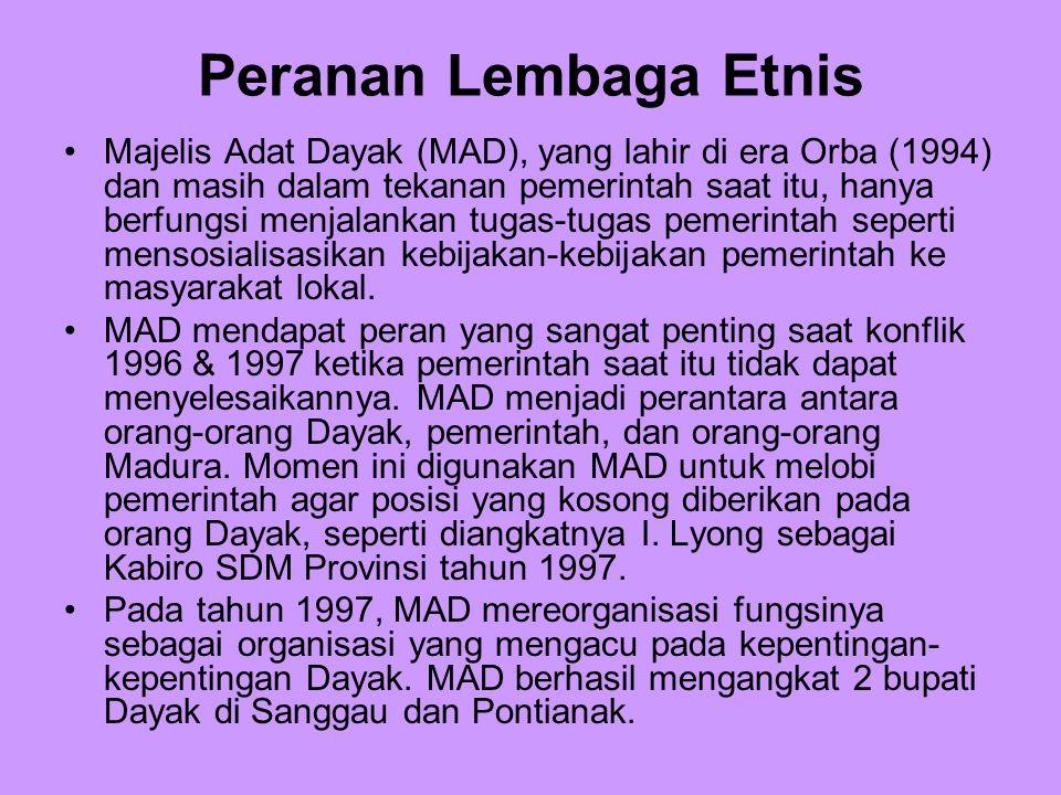 Peranan Lembaga Etnis Majelis Adat Dayak (MAD), yang lahir di era Orba (1994) dan masih dalam tekanan pemerintah saat itu, hanya berfungsi menjalankan