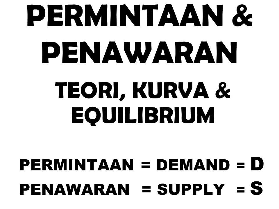 PERMINTAAN & PENAWARAN TEORI, KURVA & EQUILIBRIUM PERMINTAAN = DEMAND = D PENAWARAN = SUPPLY = S