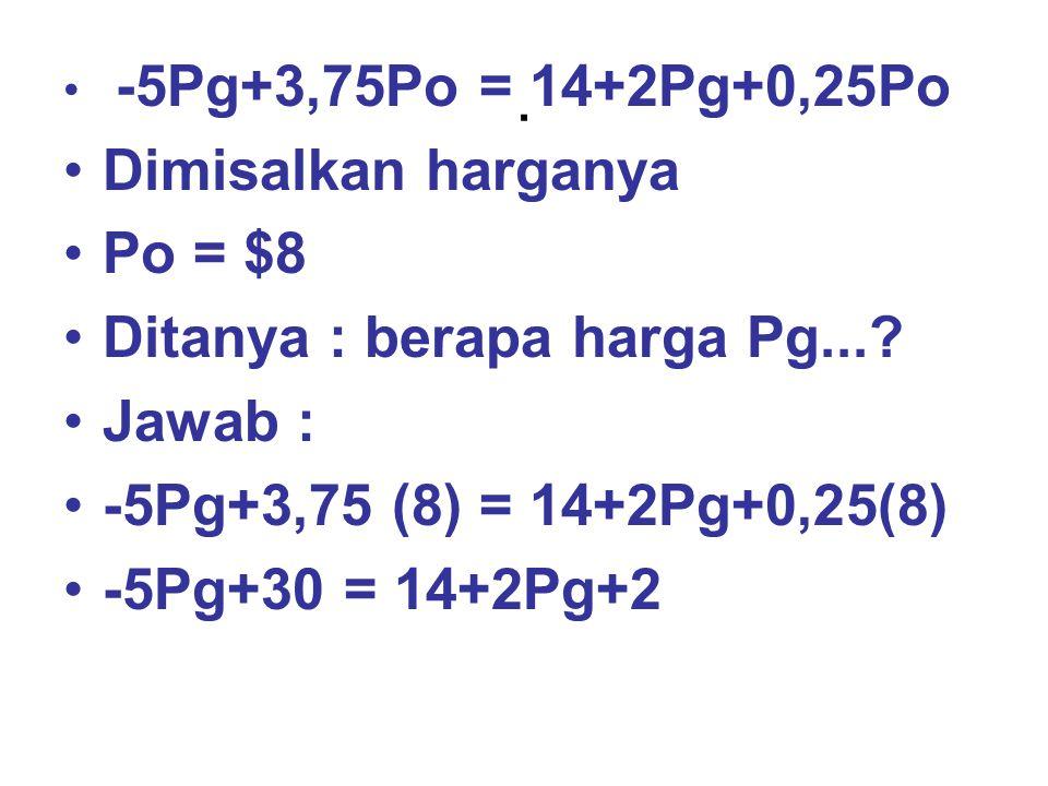 . -5Pg+3,75Po = 14+2Pg+0,25Po Dimisalkan harganya Po = $8 Ditanya : berapa harga Pg...? Jawab : -5Pg+3,75 (8) = 14+2Pg+0,25(8) -5Pg+30 = 14+2Pg+2