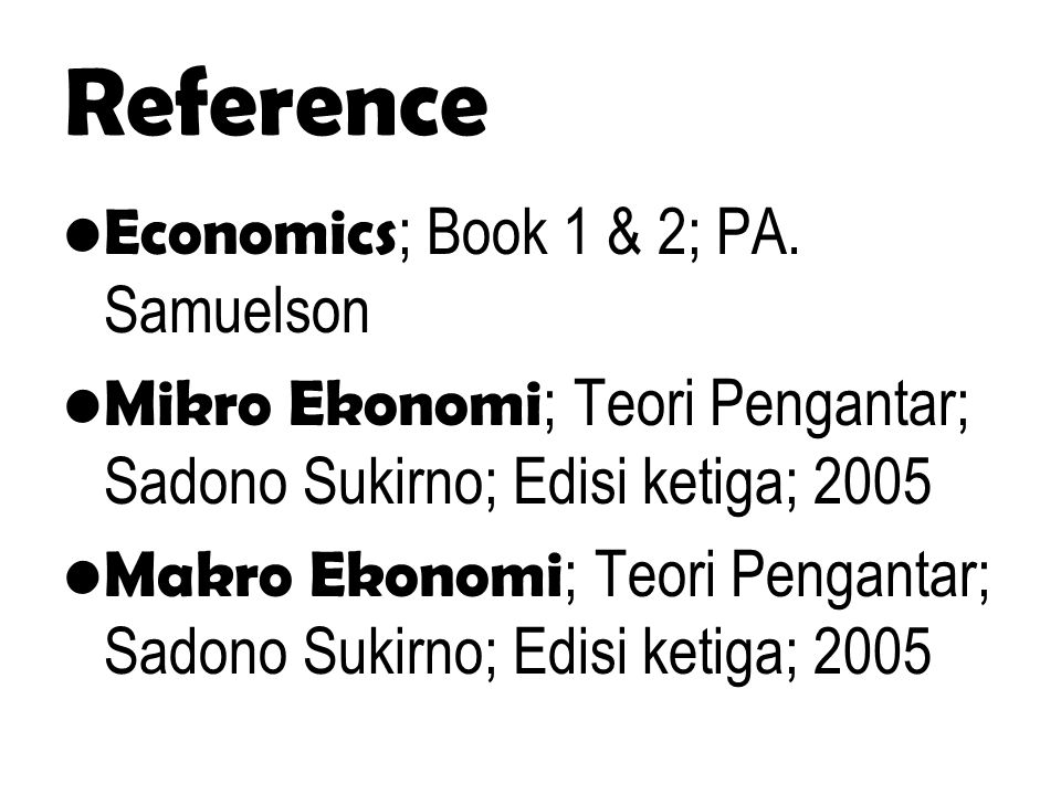 Reference Economics ; Book 1 & 2; PA.