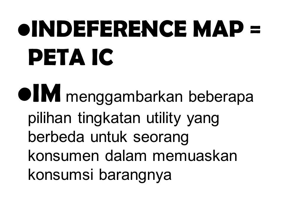 . INDEFERENCE MAP = PETA IC IM menggambarkan beberapa pilihan tingkatan utility yang berbeda untuk seorang konsumen dalam memuaskan konsumsi barangnya