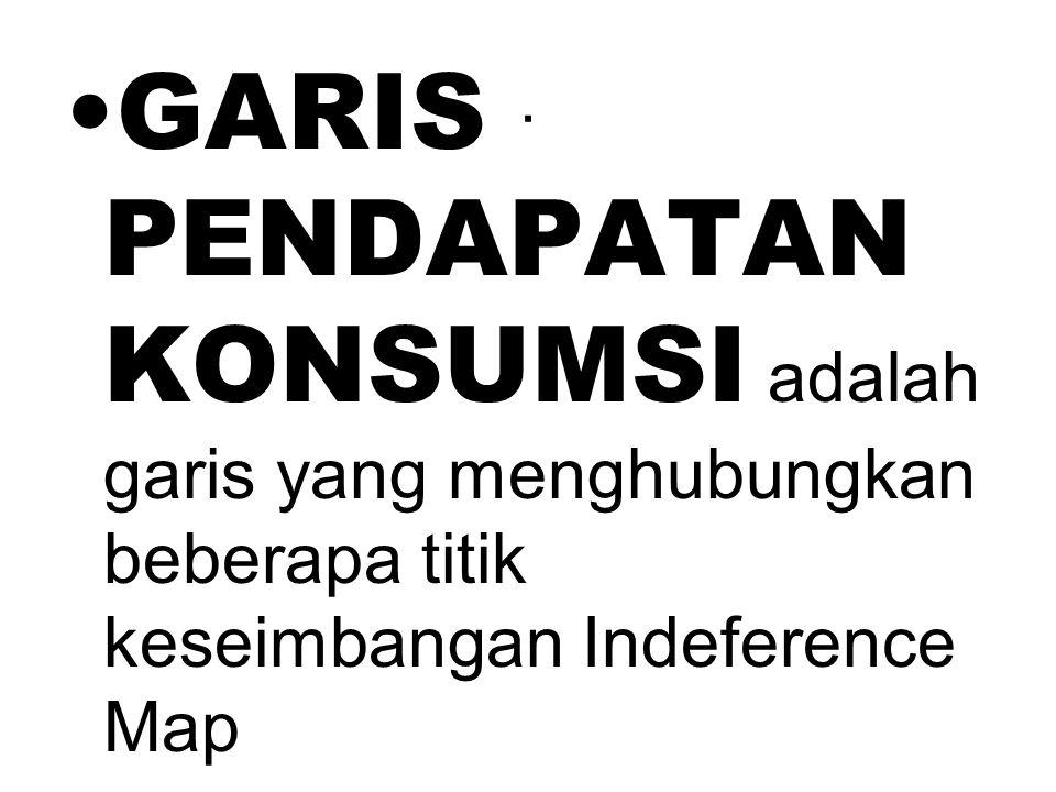 . GARIS PENDAPATAN KONSUMSI adalah garis yang menghubungkan beberapa titik keseimbangan Indeference Map