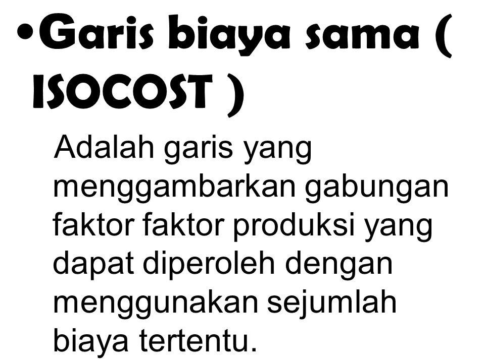 . G aris biaya sama ( ISOCOST ) Adalah garis yang menggambarkan gabungan faktor faktor produksi yang dapat diperoleh dengan menggunakan sejumlah biaya