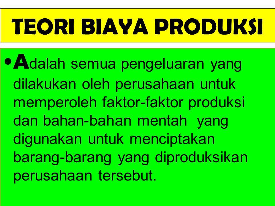 TEORI BIAYA PRODUKSI A dalah semua pengeluaran yang dilakukan oleh perusahaan untuk memperoleh faktor-faktor produksi dan bahan-bahan mentah yang digu