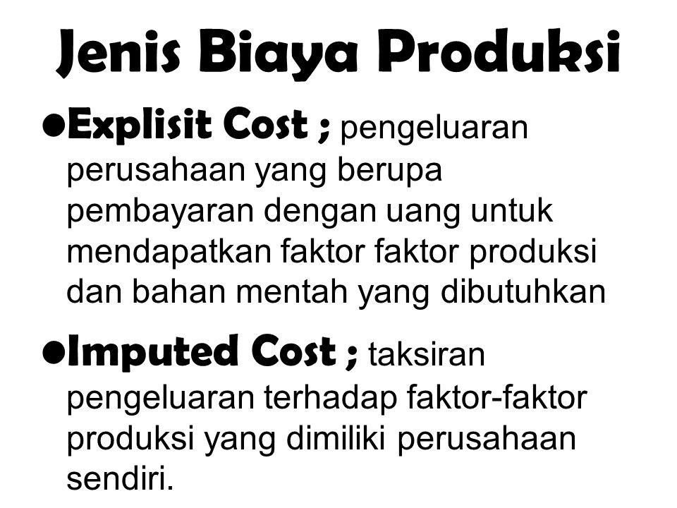 Jenis Biaya Produksi Explisit Cost ; pengeluaran perusahaan yang berupa pembayaran dengan uang untuk mendapatkan faktor faktor produksi dan bahan ment