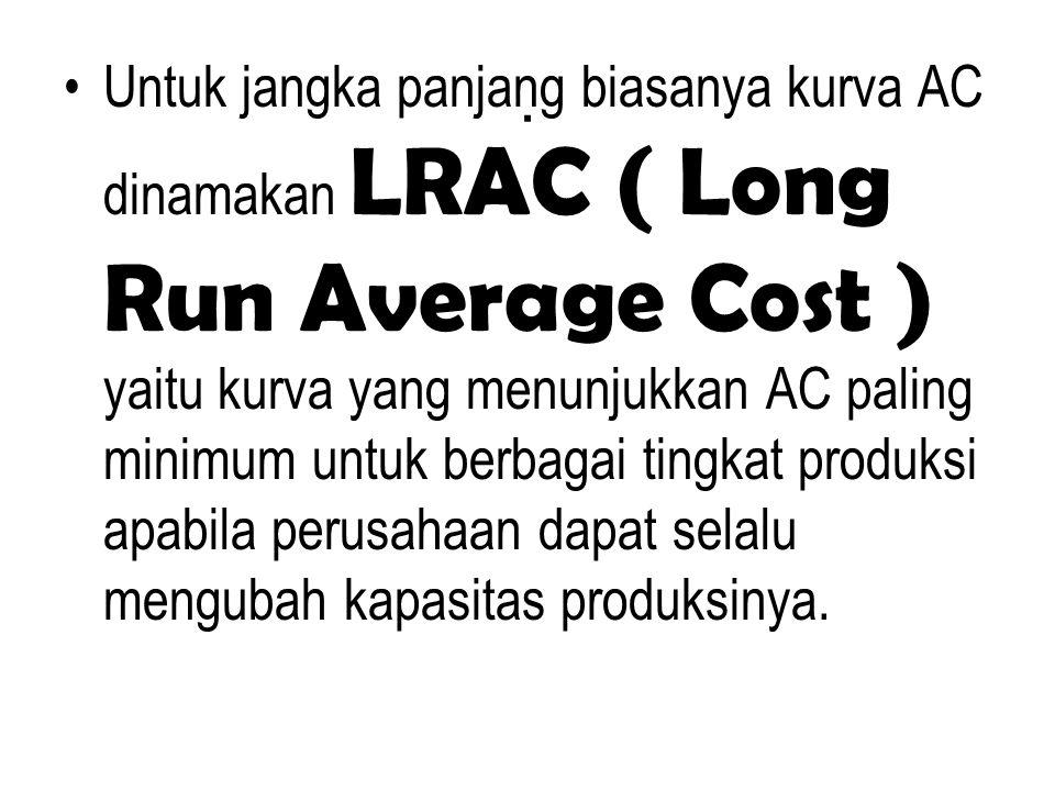 . Untuk jangka panjang biasanya kurva AC dinamakan LRAC ( Long Run Average Cost ) yaitu kurva yang menunjukkan AC paling minimum untuk berbagai tingka