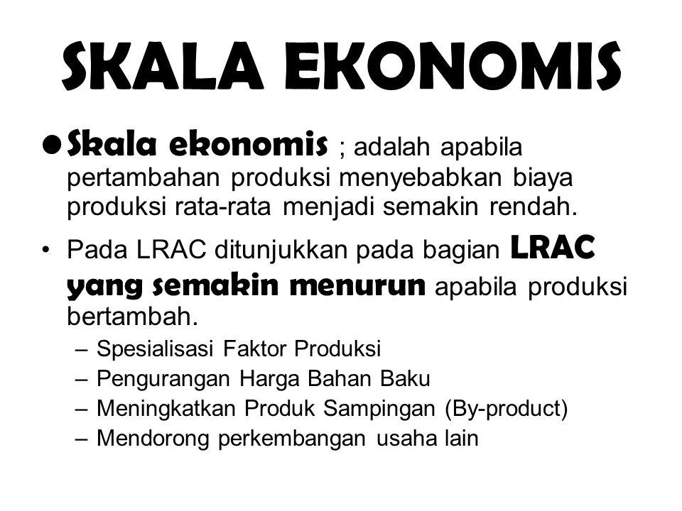 SKALA EKONOMIS Skala ekonomis ; adalah apabila pertambahan produksi menyebabkan biaya produksi rata-rata menjadi semakin rendah. Pada LRAC ditunjukkan