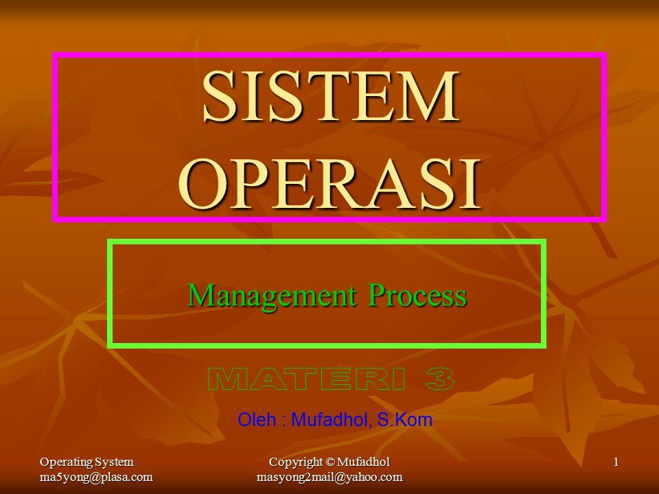Operating System ma5yong@plasa.com Copyright © Mufadhol masyong2mail@yahoo.com 1 SISTEM OPERASI Management Process Oleh : Mufadhol, S.Kom