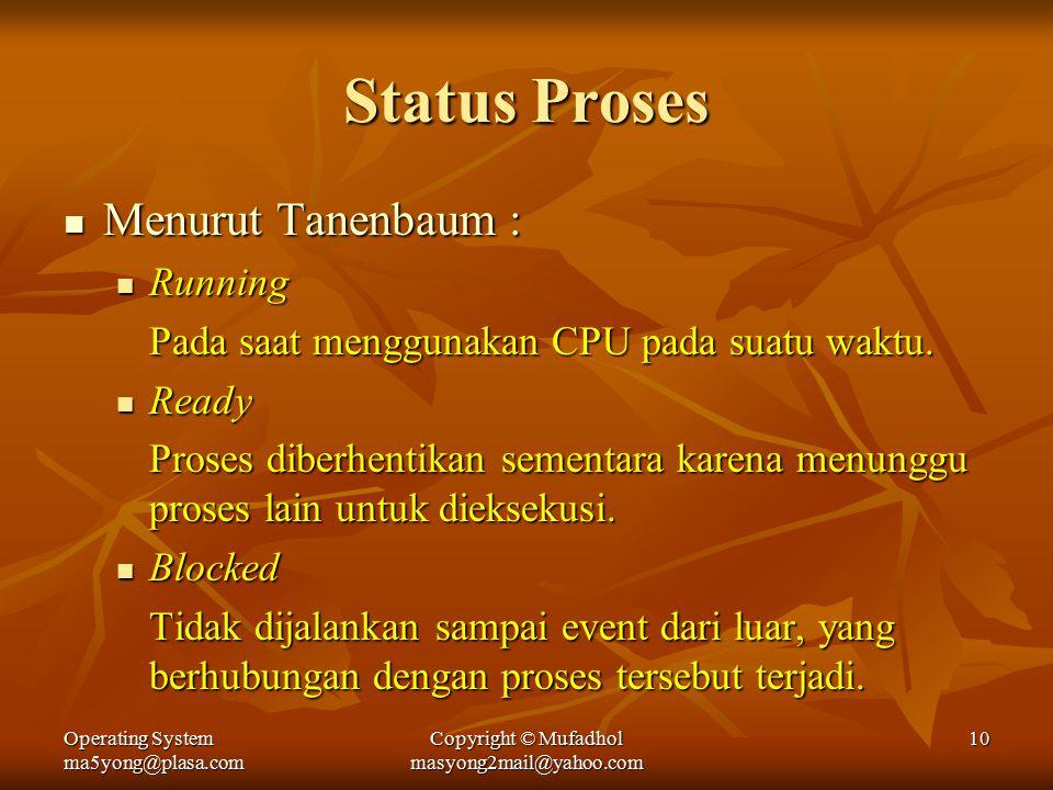 Operating System ma5yong@plasa.com Copyright © Mufadhol masyong2mail@yahoo.com 10 Status Proses Menurut Tanenbaum : Menurut Tanenbaum : Running Running Pada saat menggunakan CPU pada suatu waktu.