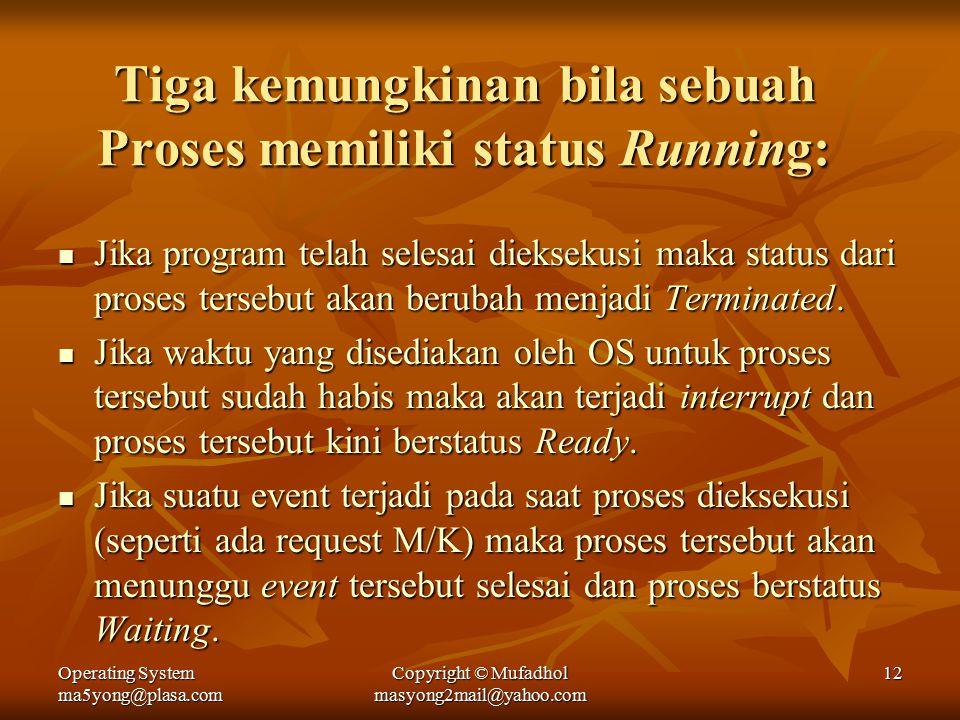 Operating System ma5yong@plasa.com Copyright © Mufadhol masyong2mail@yahoo.com 12 Tiga kemungkinan bila sebuah Proses memiliki status Running: Jika program telah selesai dieksekusi maka status dari proses tersebut akan berubah menjadi Terminated.
