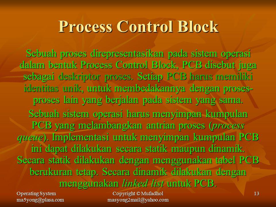 Operating System ma5yong@plasa.com Copyright © Mufadhol masyong2mail@yahoo.com 13 Process Control Block Sebuah proses direpresentasikan pada sistem operasi dalam bentuk Process Control Block, PCB disebut juga sebagai deskriptor proses.