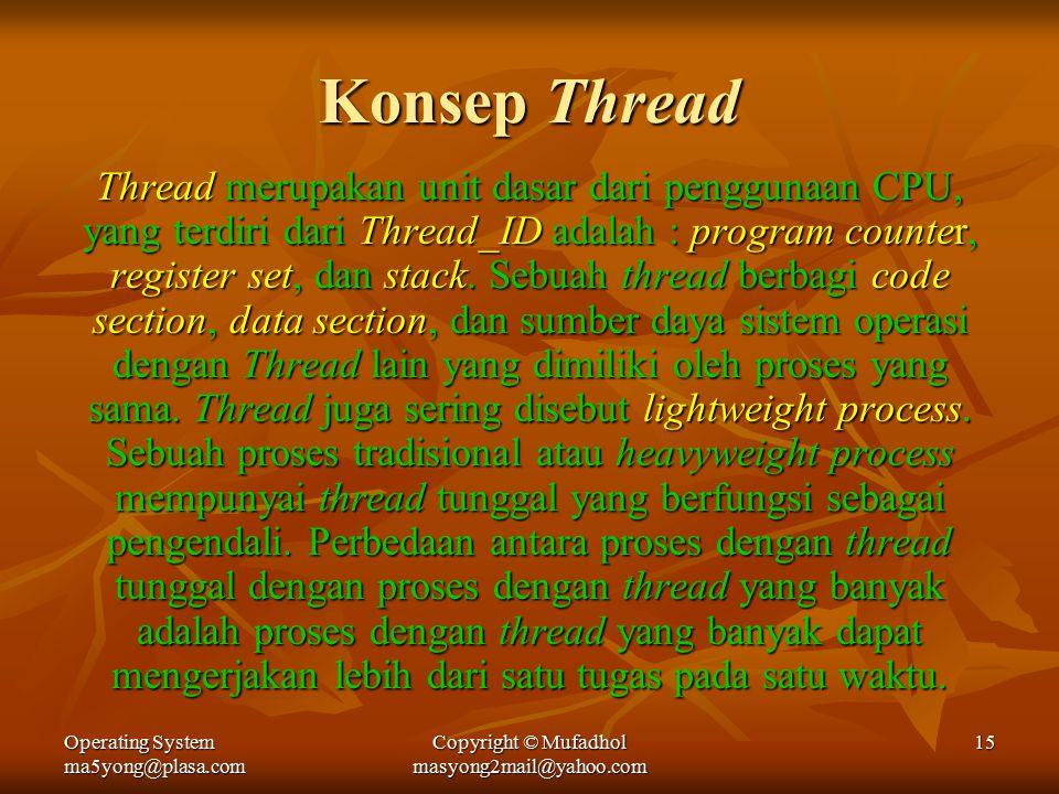 Operating System ma5yong@plasa.com Copyright © Mufadhol masyong2mail@yahoo.com 15 Konsep Thread Thread merupakan unit dasar dari penggunaan CPU, yang terdiri dari Thread_ID adalah : program counter, register set, dan stack.