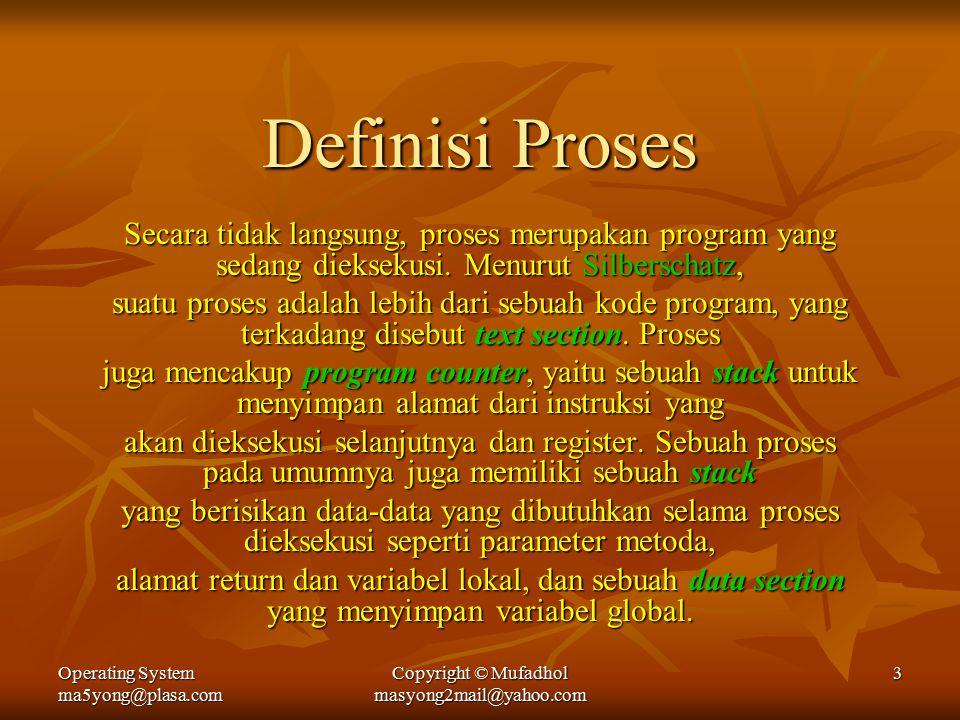 Operating System ma5yong@plasa.com Copyright © Mufadhol masyong2mail@yahoo.com 3 Definisi Proses Secara tidak langsung, proses merupakan program yang sedang dieksekusi.