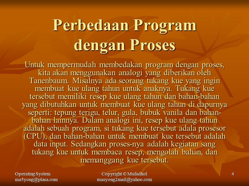 Operating System ma5yong@plasa.com Copyright © Mufadhol masyong2mail@yahoo.com 4 Perbedaan Program dengan Proses Untuk mempermudah membedakan program dengan proses, kita akan menggunakan analogi yang diberikan oleh Tanenbaum.