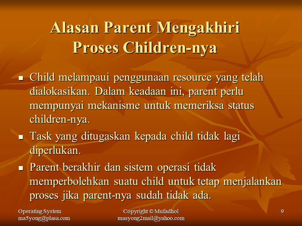 Operating System ma5yong@plasa.com Copyright © Mufadhol masyong2mail@yahoo.com 9 Alasan Parent Mengakhiri Proses Children-nya Child melampaui penggunaan resource yang telah dialokasikan.