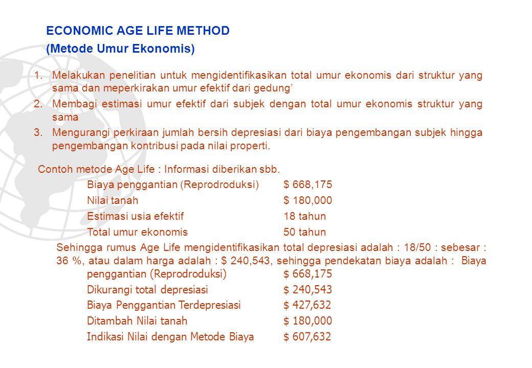 1.Melakukan penelitian untuk mengidentifikasikan total umur ekonomis dari struktur yang sama dan meperkirakan umur efektif dari gedung' 2.Membagi esti