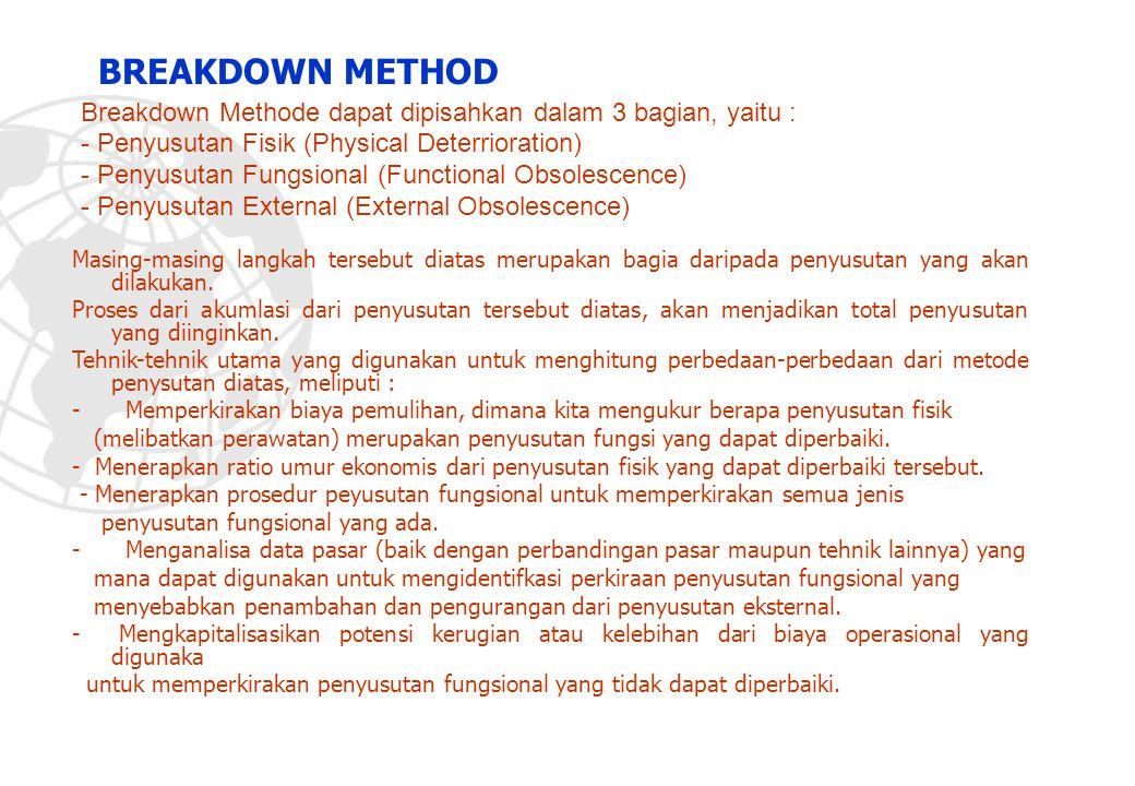 Breakdown Methode dapat dipisahkan dalam 3 bagian, yaitu : - Penyusutan Fisik (Physical Deterrioration) - Penyusutan Fungsional (Functional Obsolescen