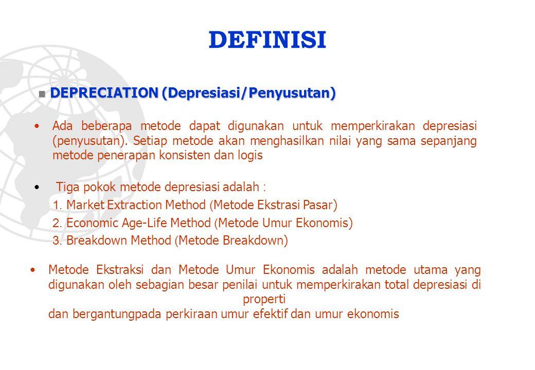 DEFINISI Ada beberapa metode dapat digunakan untuk memperkirakan depresiasi (penyusutan). Setiap metode akan menghasilkan nilai yang sama sepanjang me