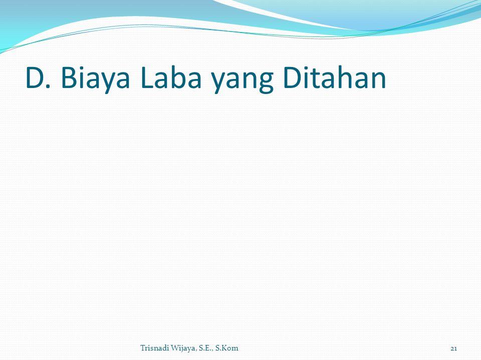 D. Biaya Laba yang Ditahan Trisnadi Wijaya, S.E., S.Kom21