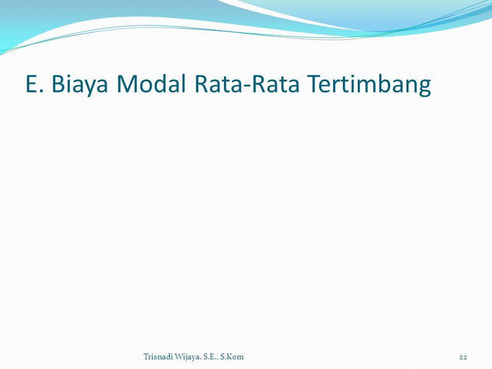 E. Biaya Modal Rata-Rata Tertimbang Trisnadi Wijaya, S.E., S.Kom22