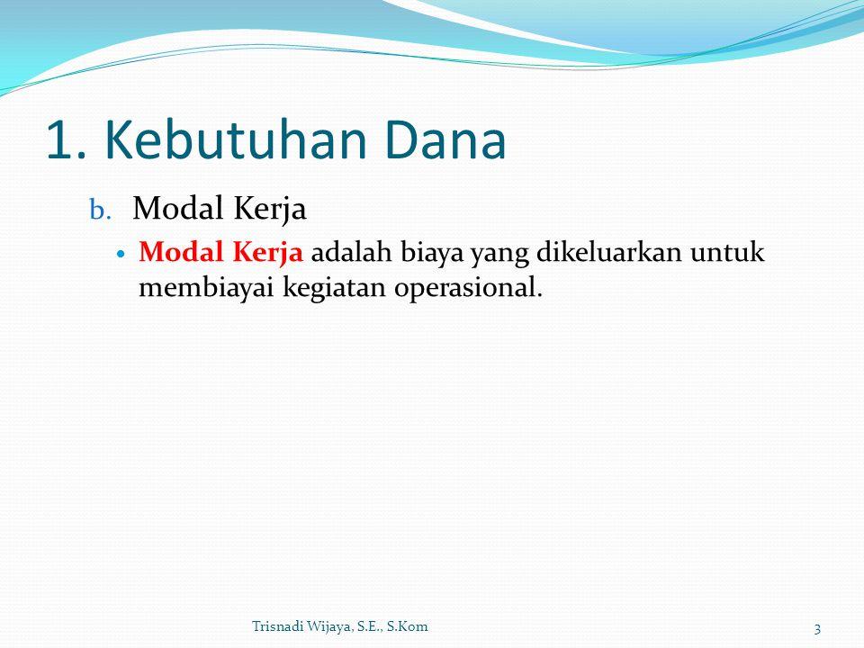 1. Kebutuhan Dana b. Modal Kerja Modal Kerja adalah biaya yang dikeluarkan untuk membiayai kegiatan operasional. Trisnadi Wijaya, S.E., S.Kom3