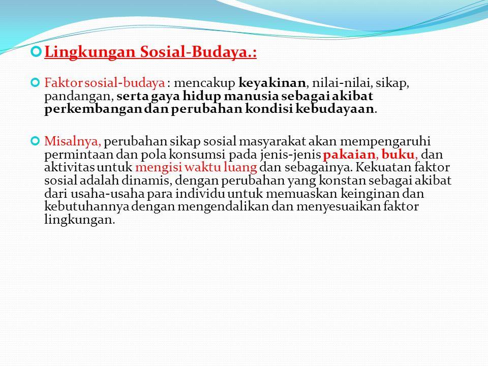 Lingkungan Sosial-Budaya.: Faktor sosial-budaya : mencakup keyakinan, nilai-nilai, sikap, pandangan, serta gaya hidup manusia sebagai akibat perkemban