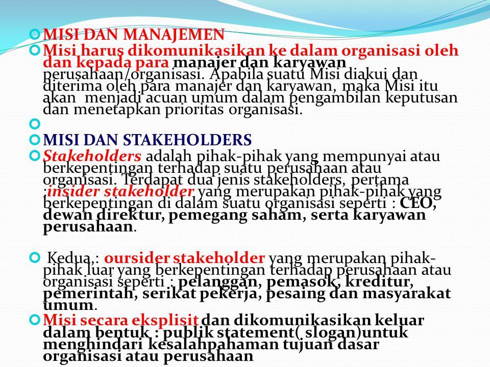 MISI DAN MANAJEMEN Misi harus dikomunikasikan ke dalam organisasi oleh dan kepada para manajer dan karyawan perusahaan/organisasi. Apabila suatu Misi