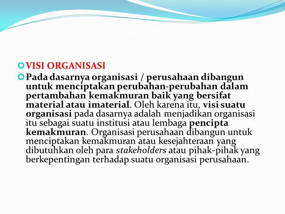 VISI ORGANISASI Pada dasarnya organisasi / perusahaan dibangun untuk menciptakan perubahan-perubahan dalam pertambahan kemakmuran baik yang bersifat m