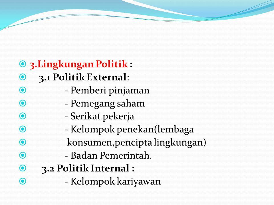  3.Lingkungan Politik :  3.1 Politik External:  - Pemberi pinjaman  - Pemegang saham  - Serikat pekerja  - Kelompok penekan(lembaga  konsumen,p