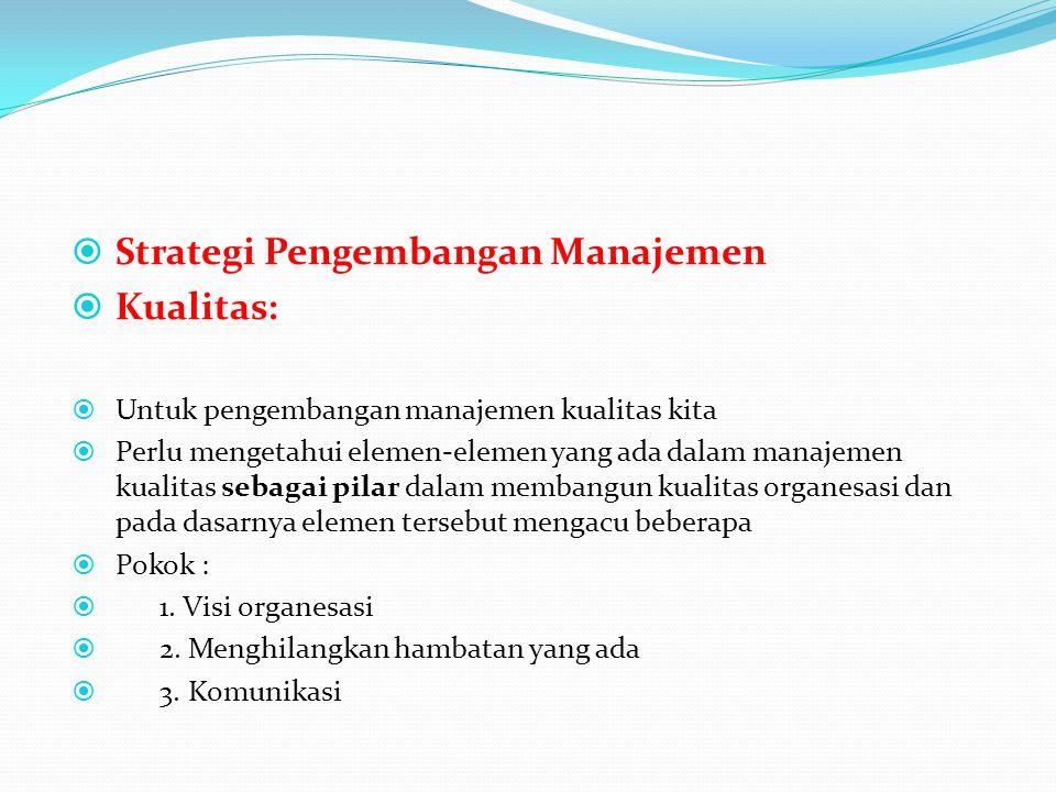  Strategi Pengembangan Manajemen  Kualitas:  Untuk pengembangan manajemen kualitas kita  Perlu mengetahui elemen-elemen yang ada dalam manajemen k