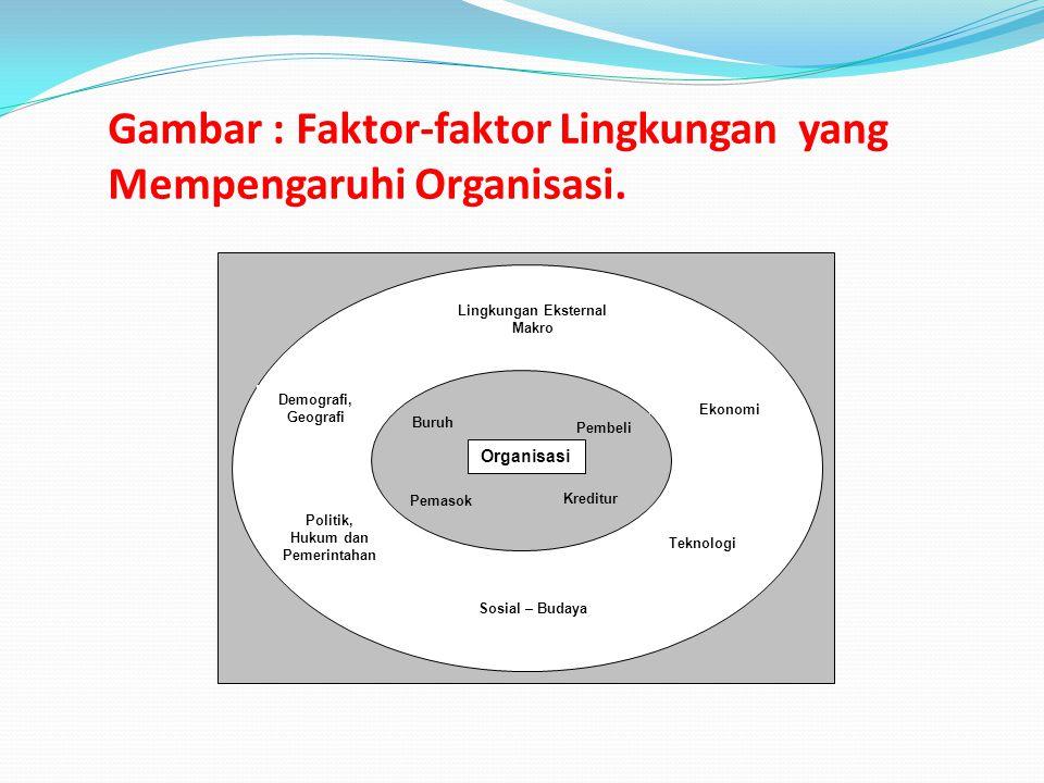 Gambar : Faktor-faktor Lingkungan yang Mempengaruhi Organisasi. Organisasi Lingkungan Eksternal Makro Demografi, Geografi Politik, Hukum dan Pemerinta