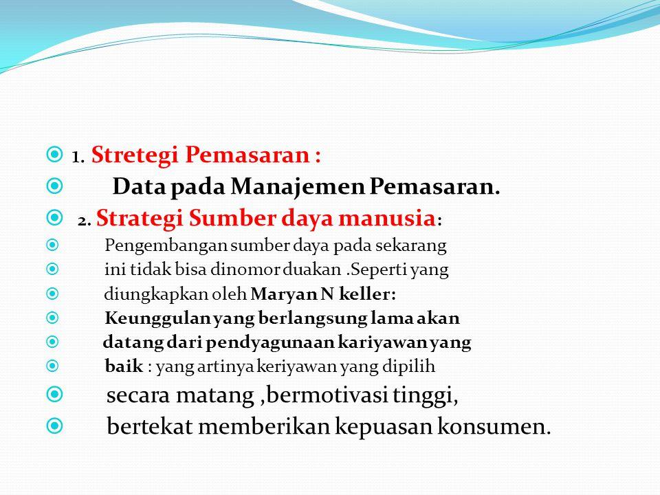 1. Stretegi Pemasaran :  Data pada Manajemen Pemasaran.  2. Strategi Sumber daya manusia :  Pengembangan sumber daya pada sekarang  ini tidak bi