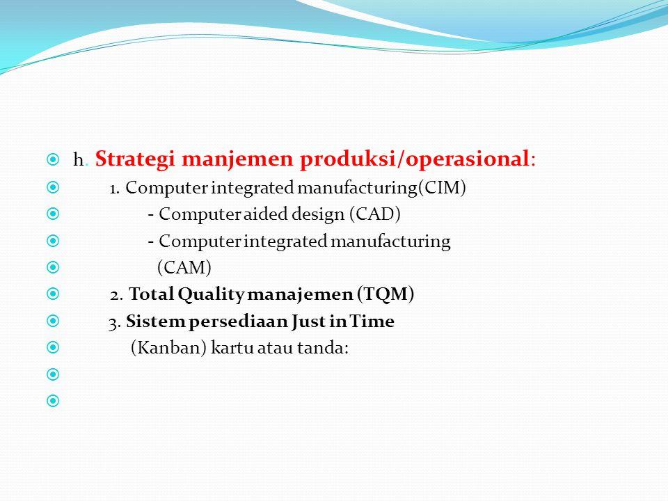  h. Strategi manjemen produksi/operasional:  1. Computer integrated manufacturing(CIM)  - Computer aided design (CAD)  - Computer integrated manuf