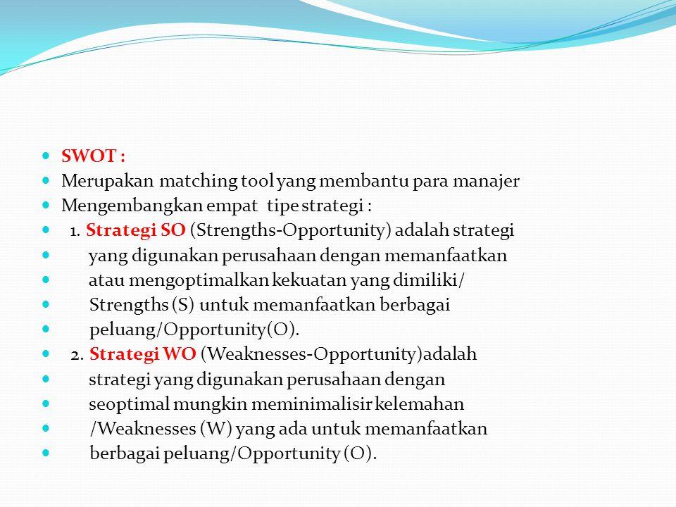 SWOT : Merupakan matching tool yang membantu para manajer Mengembangkan empat tipe strategi : 1. Strategi SO (Strengths-Opportunity) adalah strategi y
