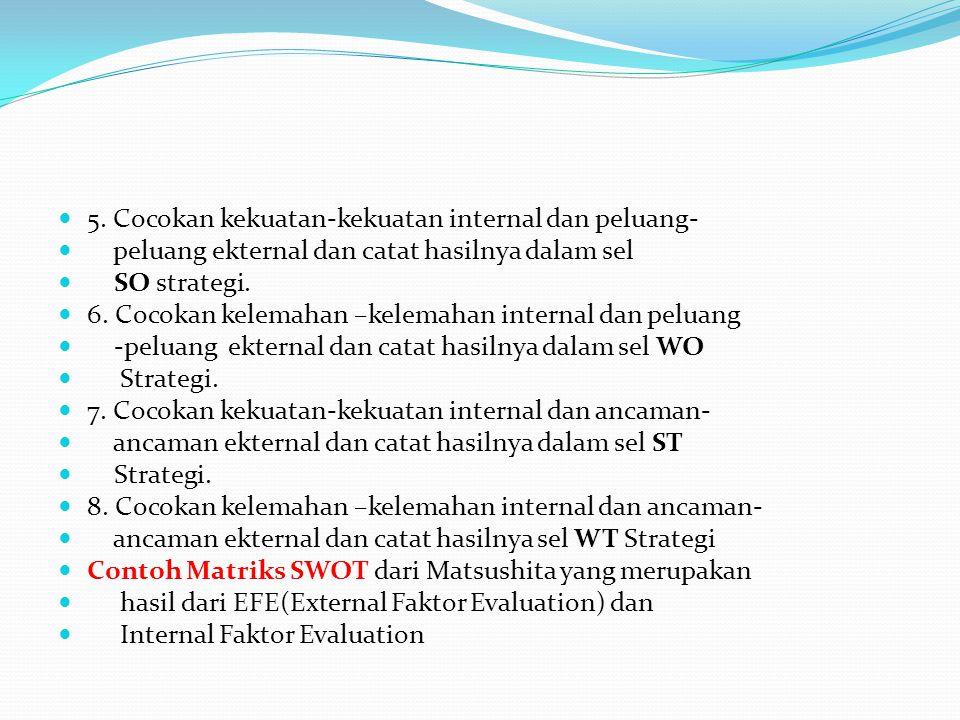 5. Cocokan kekuatan-kekuatan internal dan peluang- peluang ekternal dan catat hasilnya dalam sel SO strategi. 6. Cocokan kelemahan –kelemahan internal