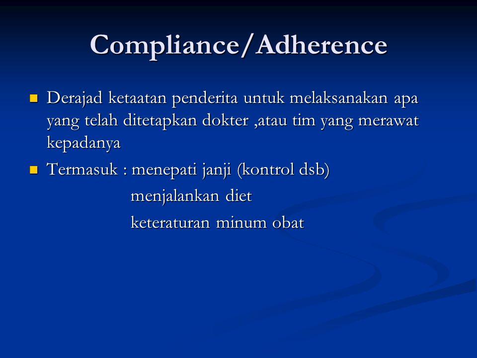 Compliance/Adherence Derajad ketaatan penderita untuk melaksanakan apa yang telah ditetapkan dokter,atau tim yang merawat kepadanya Derajad ketaatan penderita untuk melaksanakan apa yang telah ditetapkan dokter,atau tim yang merawat kepadanya Termasuk : menepati janji (kontrol dsb) Termasuk : menepati janji (kontrol dsb) menjalankan diet menjalankan diet keteraturan minum obat keteraturan minum obat