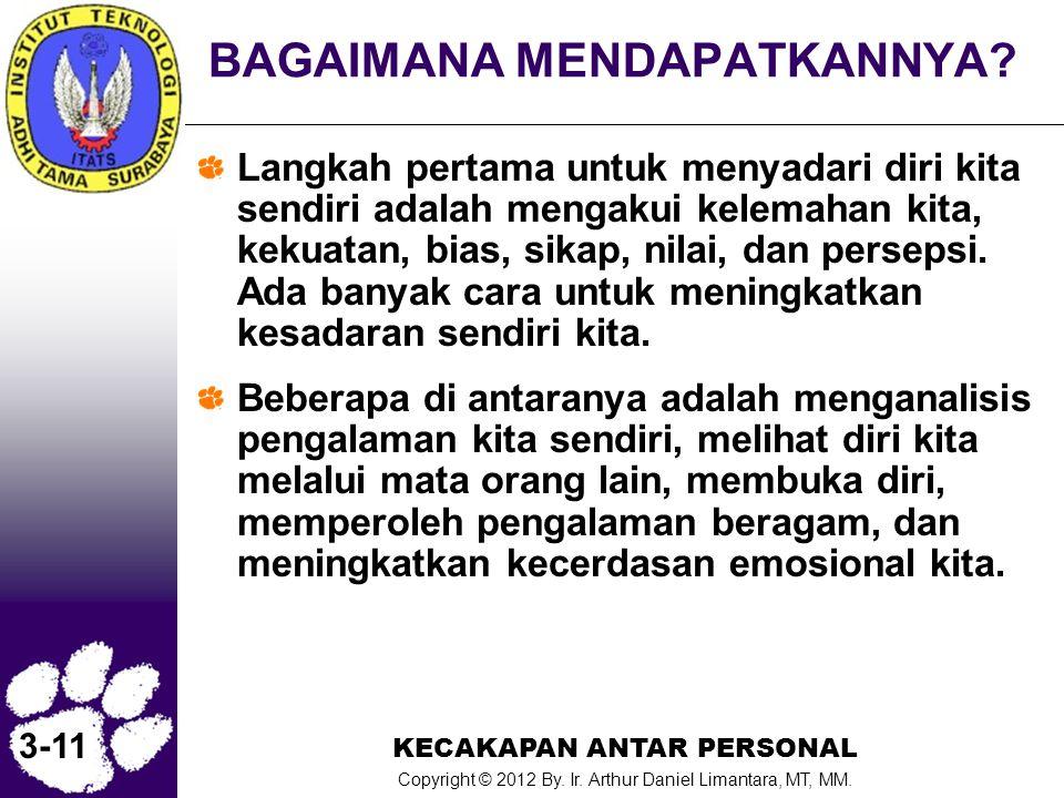 KECAKAPAN ANTAR PERSONAL Copyright © 2012 By. Ir. Arthur Daniel Limantara, MT, MM. 3-11 BAGAIMANA MENDAPATKANNYA? Langkah pertama untuk menyadari diri