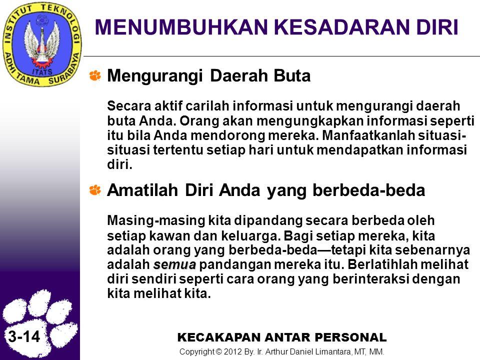 KECAKAPAN ANTAR PERSONAL Copyright © 2012 By. Ir. Arthur Daniel Limantara, MT, MM. 3-14 MENUMBUHKAN KESADARAN DIRI Mengurangi Daerah Buta Secara aktif