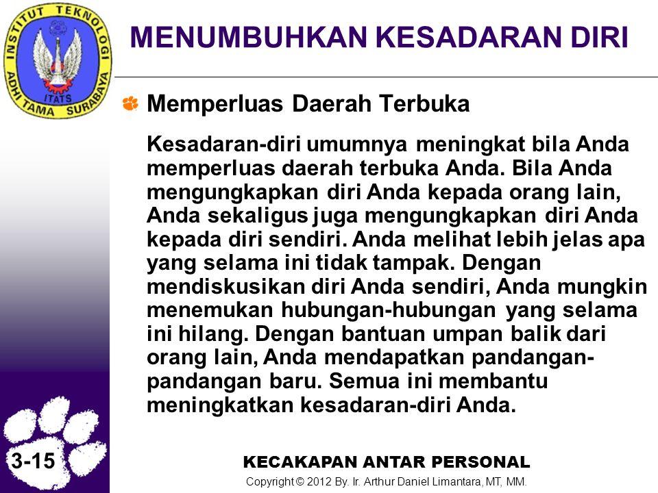 KECAKAPAN ANTAR PERSONAL Copyright © 2012 By. Ir. Arthur Daniel Limantara, MT, MM. 3-15 MENUMBUHKAN KESADARAN DIRI Memperluas Daerah Terbuka Kesadaran
