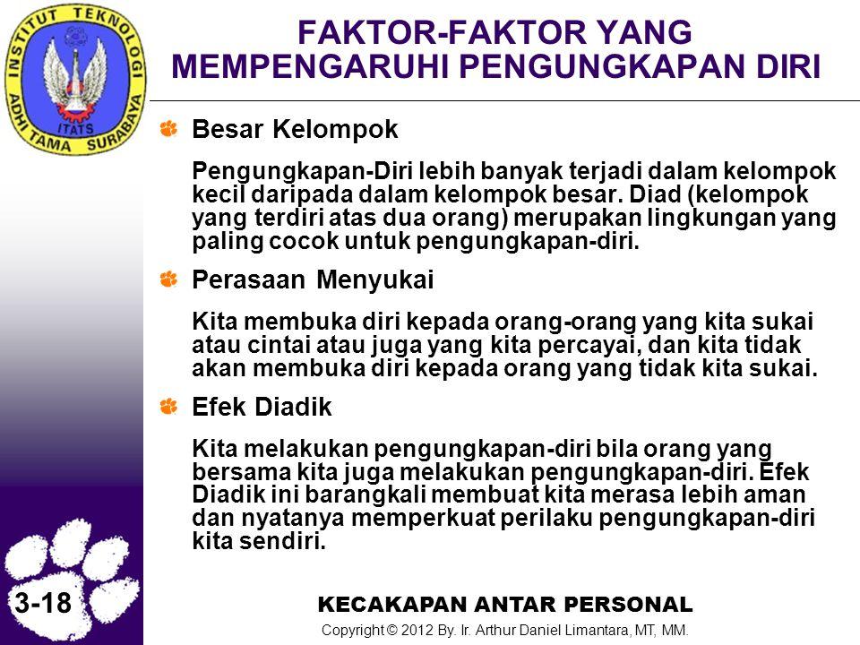 KECAKAPAN ANTAR PERSONAL Copyright © 2012 By. Ir. Arthur Daniel Limantara, MT, MM. 3-18 FAKTOR-FAKTOR YANG MEMPENGARUHI PENGUNGKAPAN DIRI Besar Kelomp