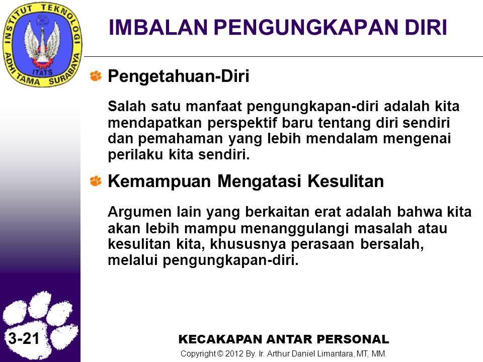 KECAKAPAN ANTAR PERSONAL Copyright © 2012 By. Ir. Arthur Daniel Limantara, MT, MM. 3-21 IMBALAN PENGUNGKAPAN DIRI Pengetahuan-Diri Salah satu manfaat