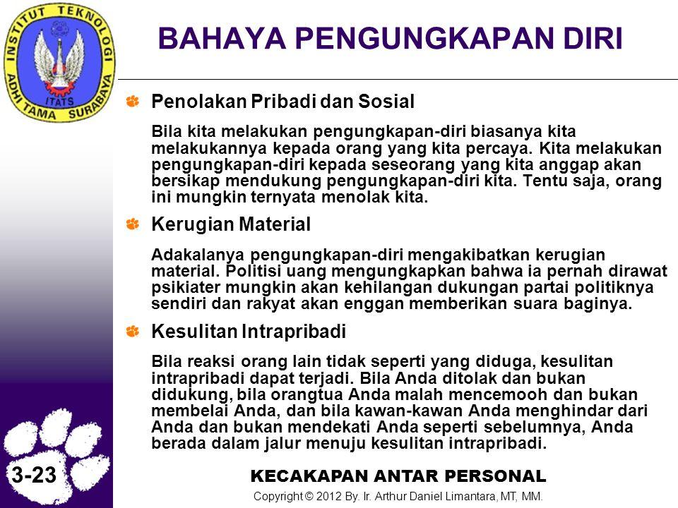 KECAKAPAN ANTAR PERSONAL Copyright © 2012 By. Ir. Arthur Daniel Limantara, MT, MM. 3-23 BAHAYA PENGUNGKAPAN DIRI Penolakan Pribadi dan Sosial Bila kit