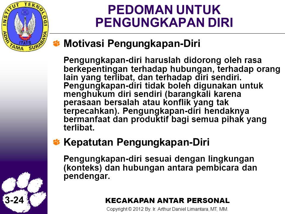 KECAKAPAN ANTAR PERSONAL Copyright © 2012 By. Ir. Arthur Daniel Limantara, MT, MM. 3-24 PEDOMAN UNTUK PENGUNGKAPAN DIRI Motivasi Pengungkapan-Diri Pen